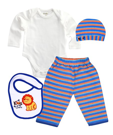 Orange & Blue Stripe King of the Jungle Organic Bodysuit Set