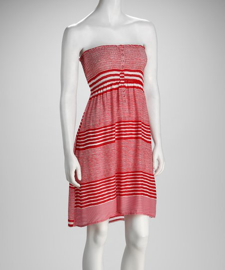 Red Stripe Smocked Strapless Dress