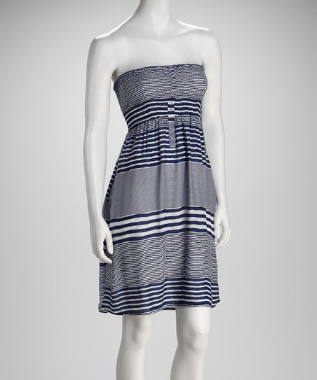 Navy Stripe Smocked Strapless Dress