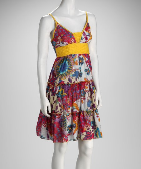 Yellow & Fuchsia Floral Empire-Waist Dress