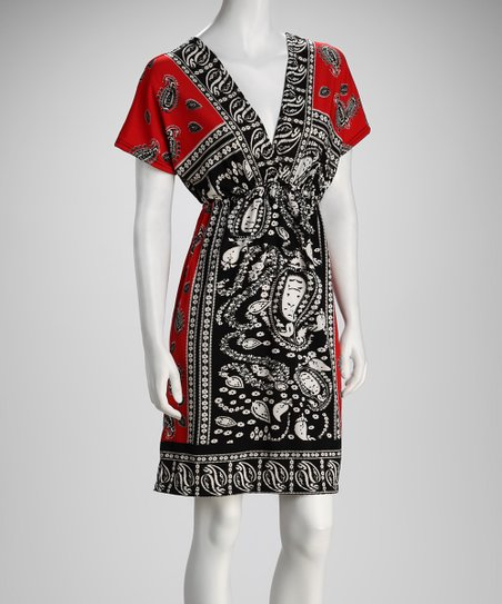 Red & Black Paisley V-Neck Dress