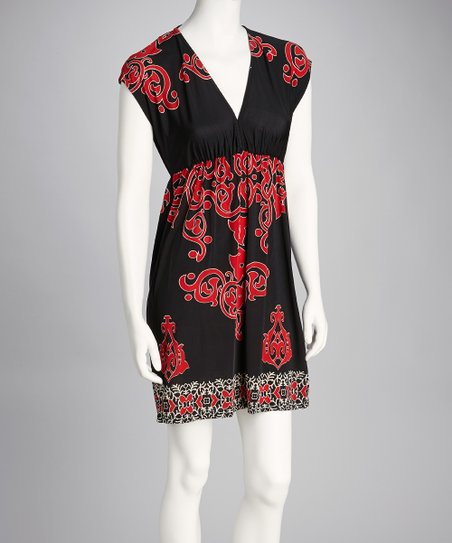 Black & Red Flourish V-Neck Dress