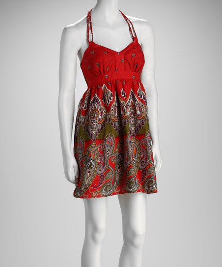 Red & Green Paisley Empire-Waist Dress