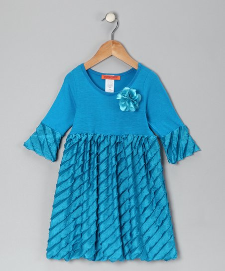 Blue Flower Ruffle Dress - Toddler