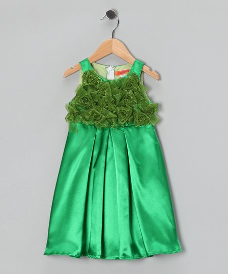 Green Pleated Rosette Dress -  Girls