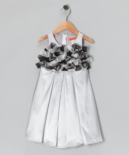 Silver Pleated Rosette Dress - Girls