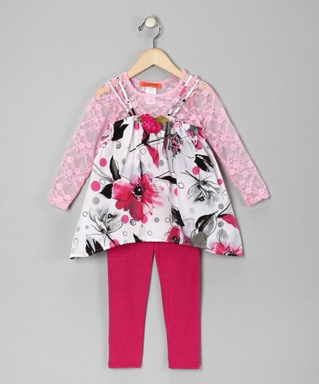 Pink Floral Tunic Set - Toddler