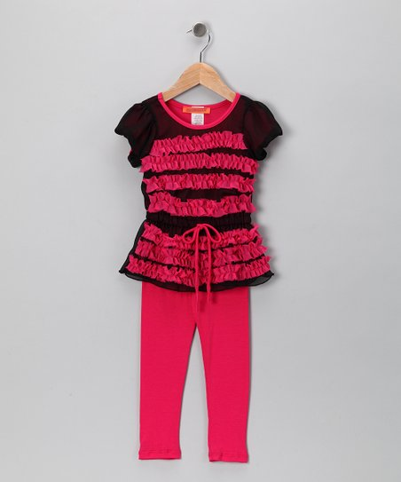 Hot Pink & Black Chiffon Tunic & Leggings - Toddler & Girls