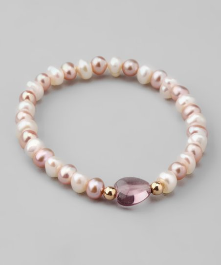 Pink & White Pearl Stretch Bracelet