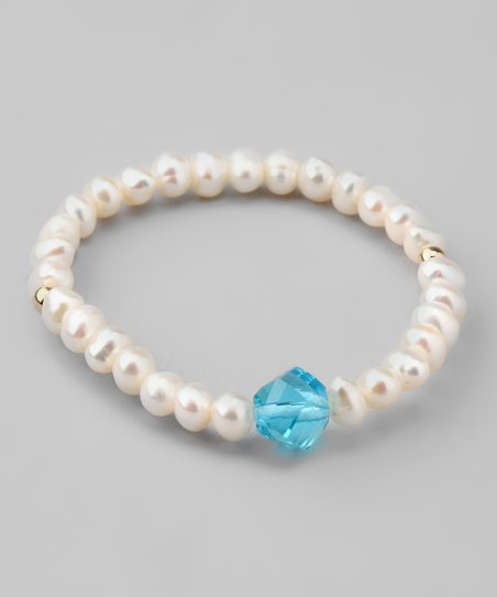 Blue Crystal Pearl Bracelet