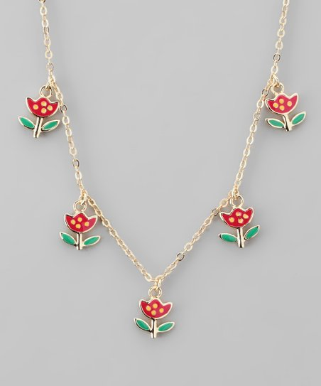 Red &amp; Gold Tulip Necklace