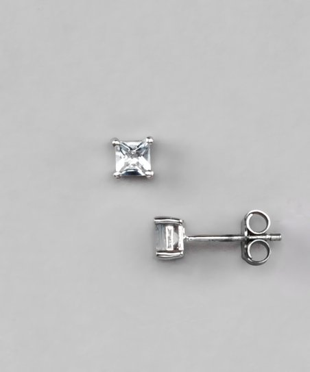Aquamarine & Sterling Silver Stud Earrings
