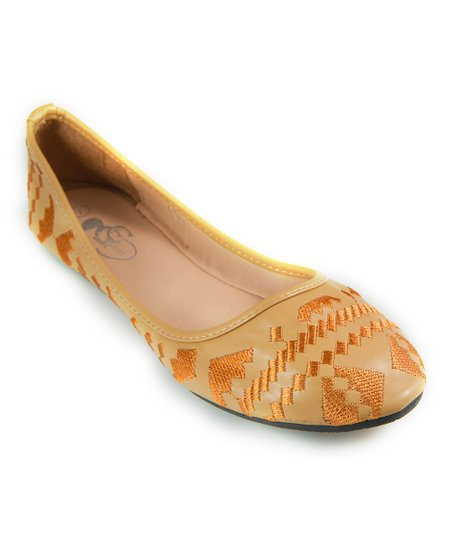 GC Shoes Tan Emma Flat