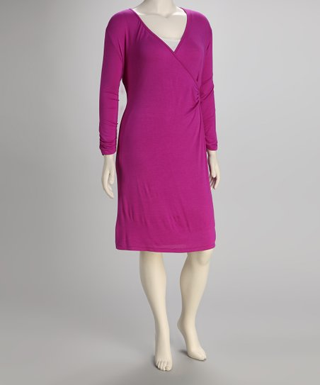 Berry Plus-Size Surplice Dress