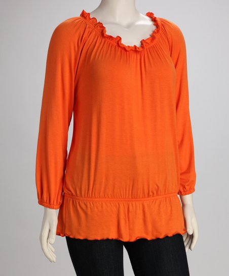 Orange Plus-Size Peasant Top
