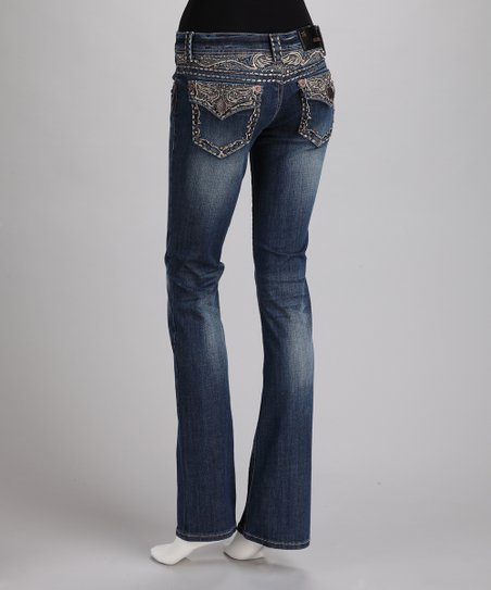 Dark Blue Embroidery Button Pocket Bootcut Jeans