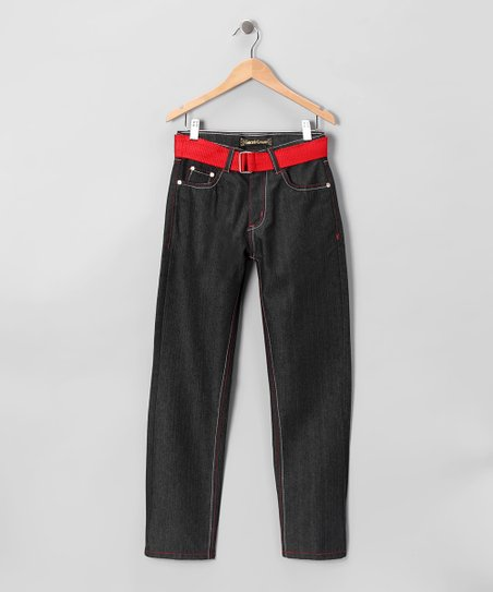 Dark Wash Red Stitch Straight-Leg Jeans - Boys