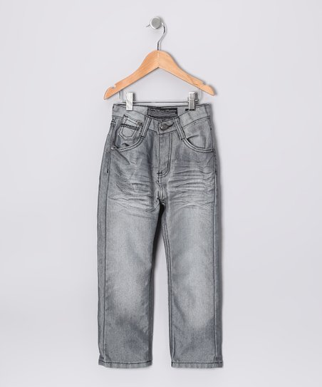 Faded Gray Distressed Jeans - Boys
