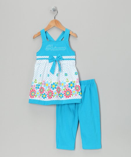 Turquoise Tunic & Capri Leggings - Infant, Toddler & Girls