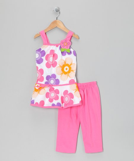 Pink Flower Skirted Tunic & Capri Leggings - Toddler & Girls
