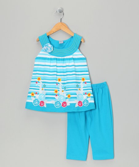 Teal Horizon Tunic &amp; Capri Leggings - Infant, Toddler &amp; Girl