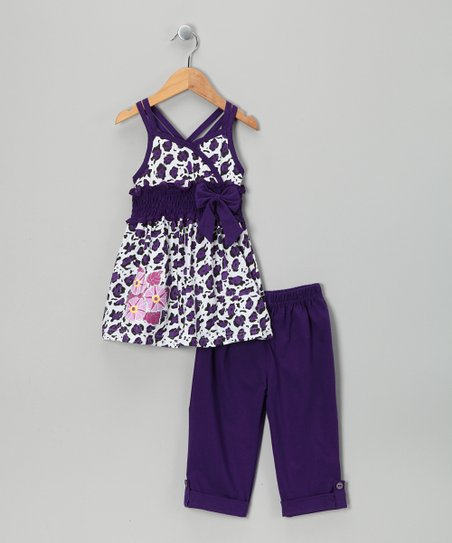 Purple Leopard Tunic & Capri Leggings - Infant, Toddler & Girls