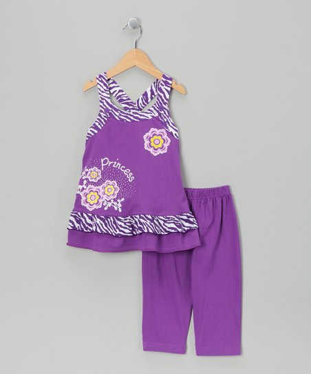 Purple Zebra Tunic & Capri Leggings - Infant, Toddler & Girls
