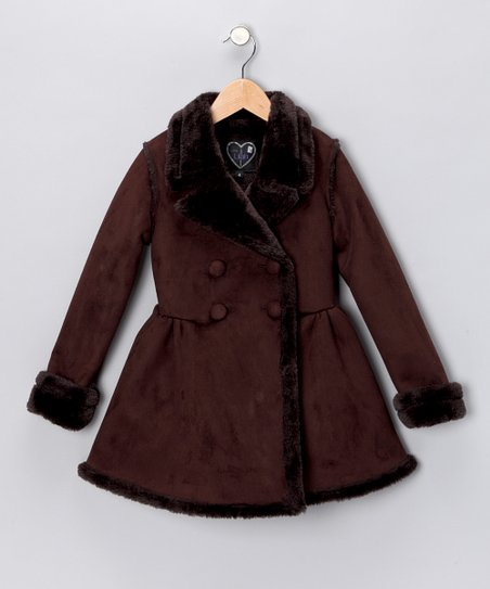 Chocolate Faux Shearling Coat - Toddler & Girls