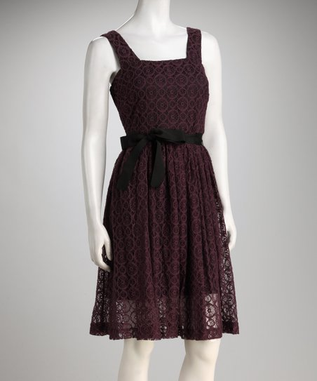 Eggplant Lace Tie-Waist Dress