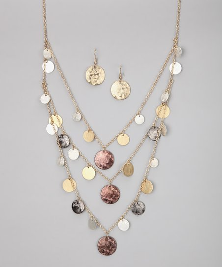 Metallic Multi-Strand Necklace & Earrings