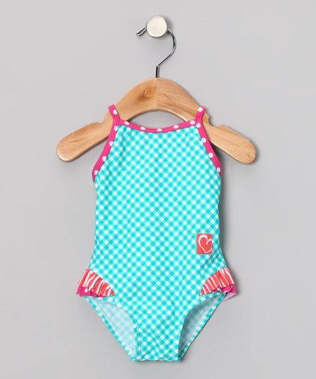 Turquoise Gingham Ruffle One-Piece - Infant