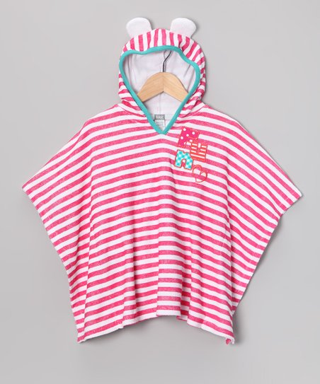 Pink Stripe Hooded Knit Towel