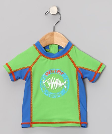 Green & Blue Fishbone Rashguard - Infant