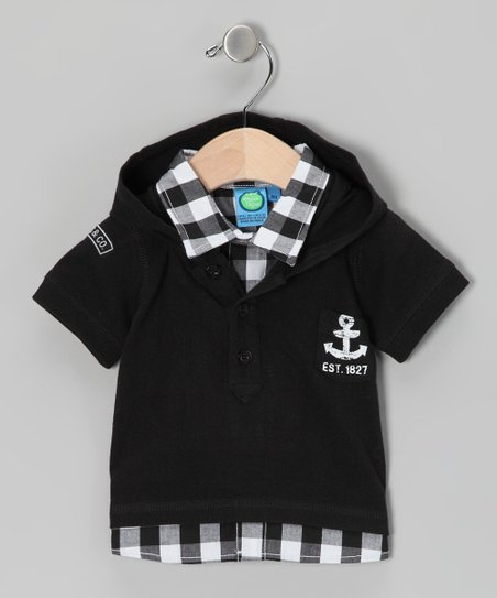 Black Checkerboard Polo - Toddler