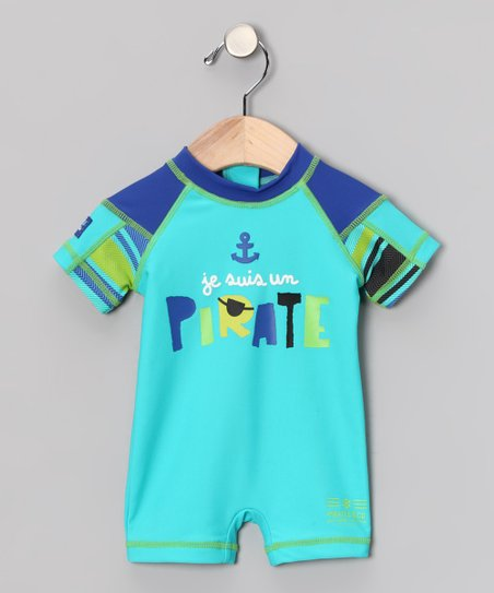 Turquoise 'Pirate' One-Piece Rashguard