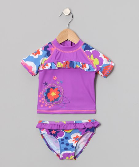 Violet Floral Rashguard Set - Toddler