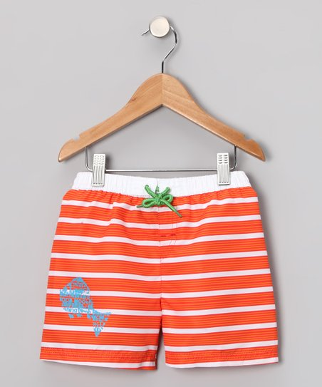 Orange Stripe Swim Trunks - Toddler