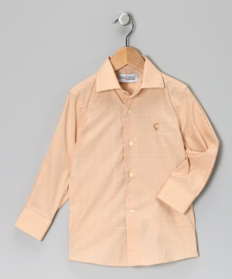 Garçons Sunset Orange Plaid Button-Up - Toddler