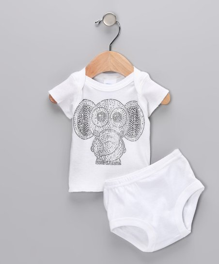 White Elephant Tee & Diaper Cover - Infant