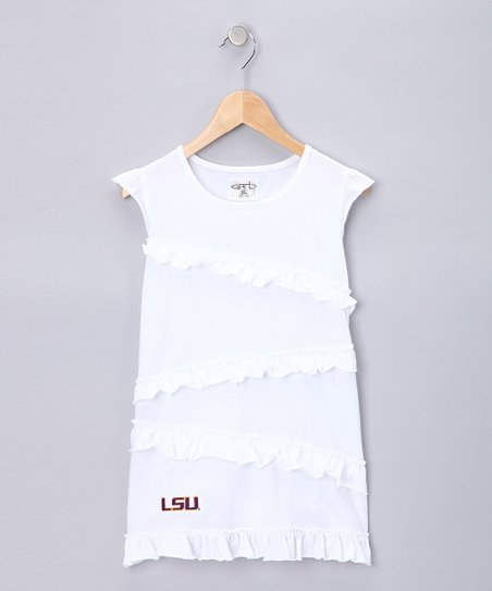 White Louisiana State Amber Top - Girls
