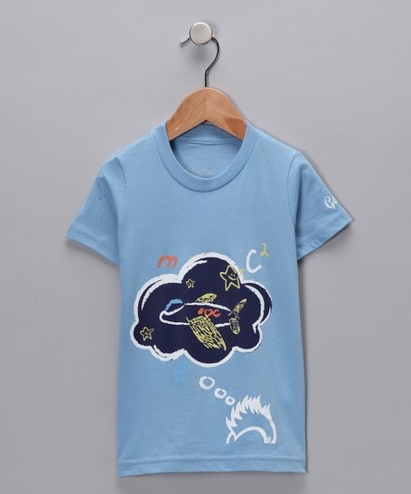 New York-Designed Baby Blue Think Tee - Toddler