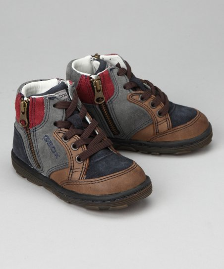 Geox Navy &amp; Dark Brown Baby Lab Hi-Top Sneaker                