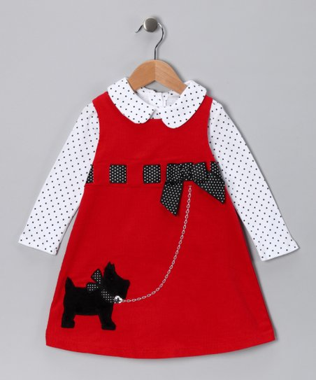 Red Scotty Ribbon Corduroy Jumper - Toddler