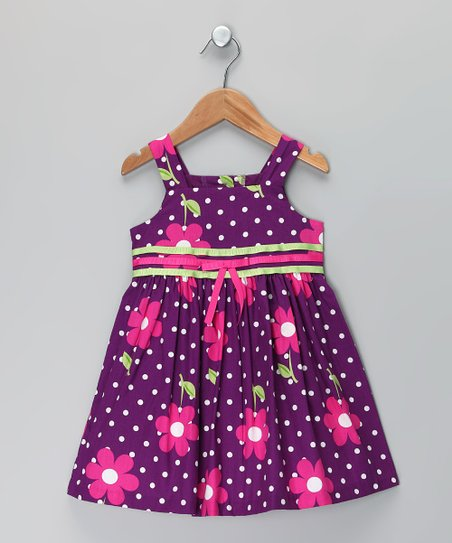 Purple Polka Dot A-Line Dress - Infant & Toddler