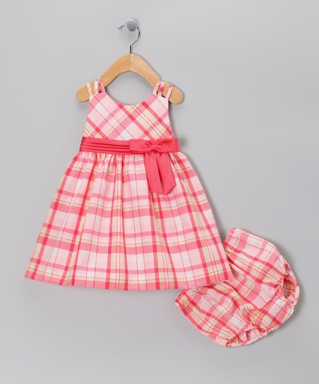 New York-Designed Coral Plaid Strap Dress & Bloomers - Infant