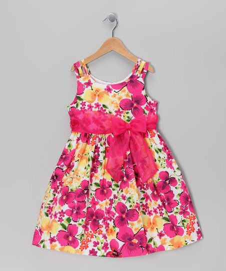 Fuchsia Floral Triple Strap Dress - Girls