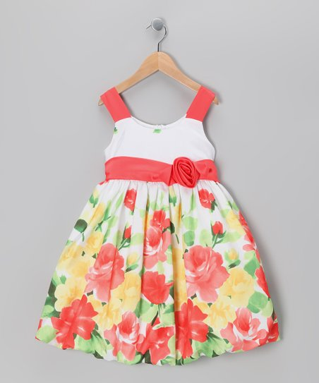 White & Orange Floral Bubble Dress - Toddler & Girls