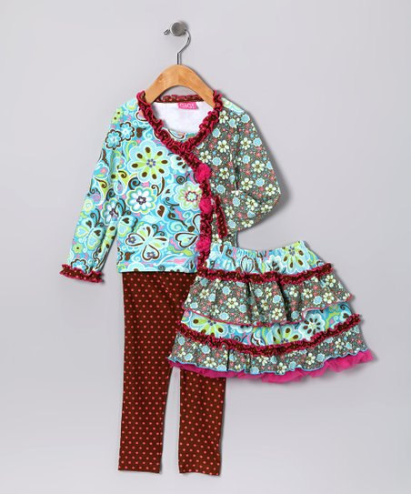 Blue Floral Tiered Ruffle Skirt Set - Toddler & Girls