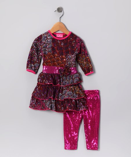 Pink Sequin Peacock Tunic & Leggings - Infant, Toddler & Girls