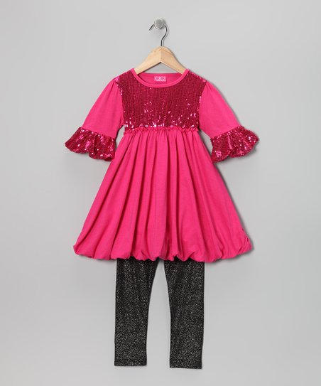 Hot Pink Sequin Bubble Tunic & Leggings - Infant, Toddler & Girls